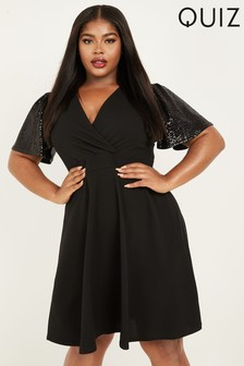 Quiz Cuve Sequin And Glitter Sleeve Skater Dress
