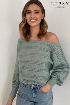 Lipsy Pointelle Slash Neck Knitted Jumper