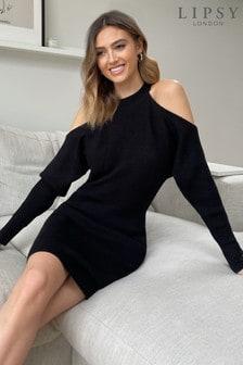 Lipsy Cold Shoulder Rib Knitted Dress
