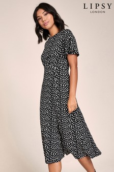 Lipsy Spot Angel Sleeve Midi Dress