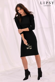 Lipsy Ruched Long Sleeve Dress