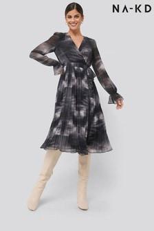NA-KD Tie-Dye Midi Pleated Dress