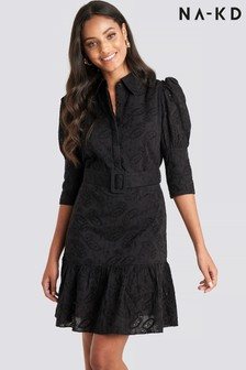 NA-KD Broderie Belted Shirt Dress