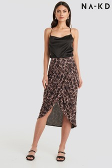 NA-KD Printed Overlap Mesh Skirt