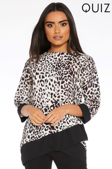 Quiz Leopard Print 3/4 Sleeve Top