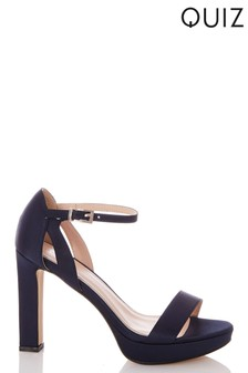 Quiz Faux Satin Two Part Platform Heel Sandal