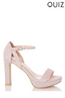 Quiz Faux Satin Two Part Platform Heel Sandal