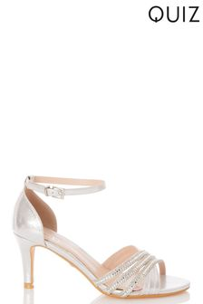 Quiz Shimmer Triple Diamante X Vamp Low Heel Sandal