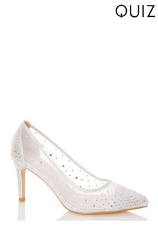 Quiz Shimmer Diamanté Mesh Heel Court