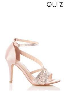 Quiz Satin Asymetric Diamanté Strap Heel Sandals