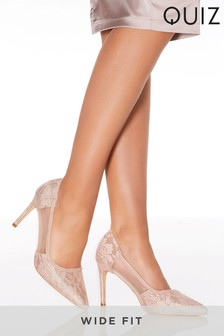 Quiz Wide Fit Lace Mesh Mix Court Shoes