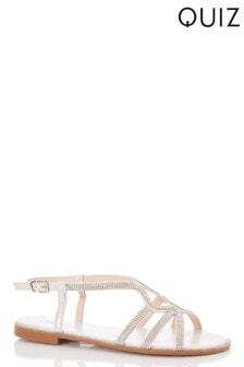 Quiz Diamanté Triple Vamp Swirl Strap Flat Sandal