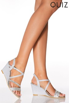 Quiz Shimmer Diamanté Double Vamp X Strap Wedge