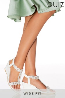 Quiz Wide Fit Faux Leather Diamanté Wedges