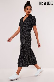 Missguided Polka Dot Button Down Midi Dress
