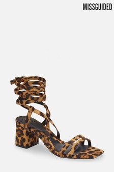 Missguided Two Strap Mid Heel Lace Up Sandals