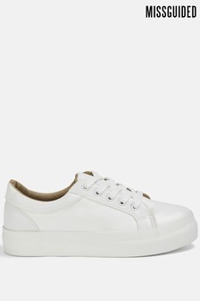 Missguided Faux Leather Flatform Trainer
