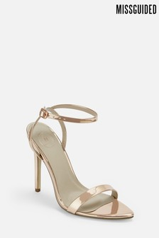 Missguided Pointed Toe Barely There Patent Sandal