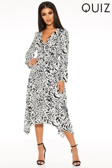 Quiz Satin Animal Print Midi Dress