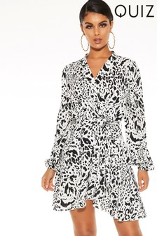 Quiz Satin Animal Print Wrap Dress