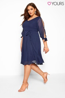 Yours Curve Navy Pleated Dress