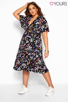 Yours Curve Floral Ruffle Wrap Dress