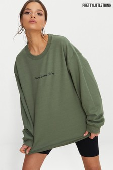 PrettyLittleThing Slogan Oversized Sweater