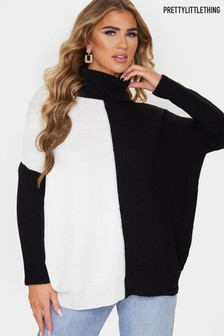 PrettyLittleThing Colourblock Roll Neck Oversized Jumper