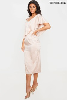 PrettyLittleThing Asymmetric Frill Sleeve Satin Midi Dress