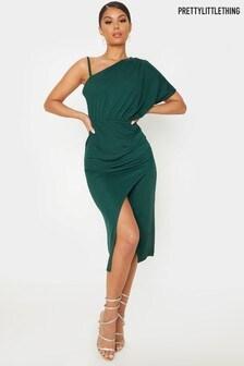 PrettyLitttleThing Drape Detail One Shoulder Dress