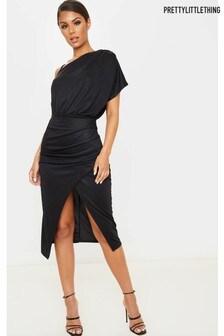 PrettyLittleThing Drape Detail One Shoulder Midi Dress