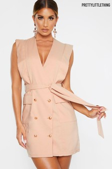 Pretty Little Thing Sleeveless Gold Button Detail Blazer Dress