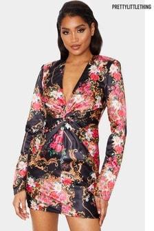 PrettyLittleThing Baroque Floral Print Satin Twist Front Bodycon Dress