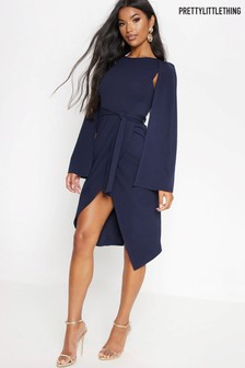 PrettyLittleThing Cape Style Wrap Midi Dress