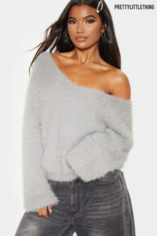 PrettyLittleThing Off Shoulder Fluffy Jumper