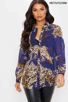 PrettyLittleThing Baroque Print Chiffon Oversized Shirt