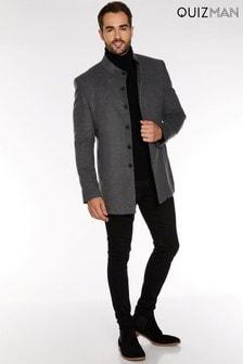 Quizman Smart Overcoat With Funnel Neck