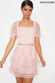 PrettyLittleThing Square Neck Puff Sleeve Tiered Lace Dress