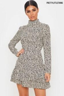 PrettyLittleThing Ditsy Animal Printed Frill Hem Dress