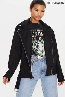 PrettyLittleThing Oversized Faux Suede Biker Jacket