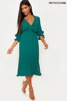 PrettyLittleThing Frill Pleated Midi Dress
