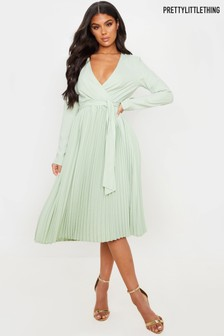 PrettyLittleThing Pleated Midi Dress
