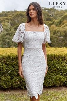 Lipsy Lace Square Neck Puff Sleeve Dress