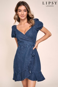 Lipsy Denim Wrap Puff Sleeve Dress