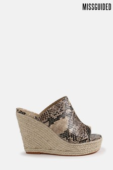 Missguided Snake Print Open Toe Wedges