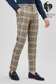 Twisted Tailor Ginger Tan Tartan Suit Trousers