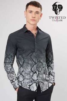 Twisted Tailor Carroll Grey Snakeskin Shirt