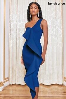 Lavish Alice One Shoulder Scuba Frill Midi Dress