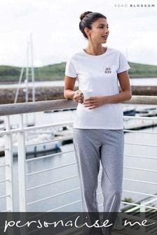 Personalised Women's Grey Heart Pyjamas by Koko Blossom