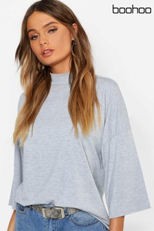 Boohoo Basic Oversized High Neck 3/4 Sleeve T-Shirt